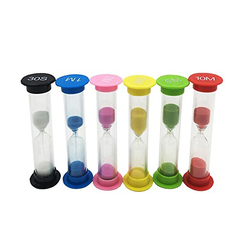Sand Timer, Ulocest 6 Pack Sand Hourglass 30S,1M,2M,3M,5M,10M for School, Kitchen