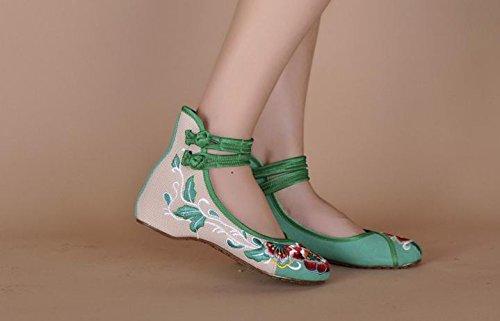 Tela Green Zq Moda Aumento Bordados Zapatos Estilo Tendón Étnico Lenguado Femenina Del Dentro Casual Cómodo De CqZFw8C