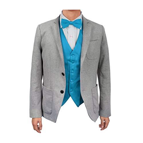 DGEE0021-XL Dodger Blue Plain Microfiber Elegant Satin Vest Matching Bow Tie for Men By Dan ()