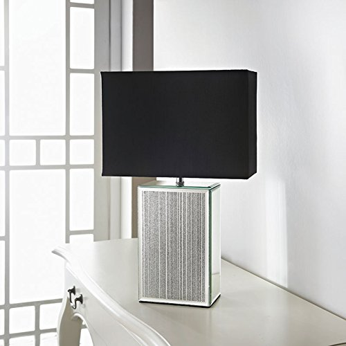 Glass mirror floating crystal astoria table lamp with black square glitter mirror table lamp black mozeypictures Gallery