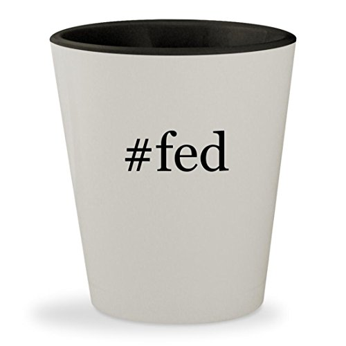 #fed - Hashtag White Outer & Black Inner Ceramic 1.5oz Shot Glass