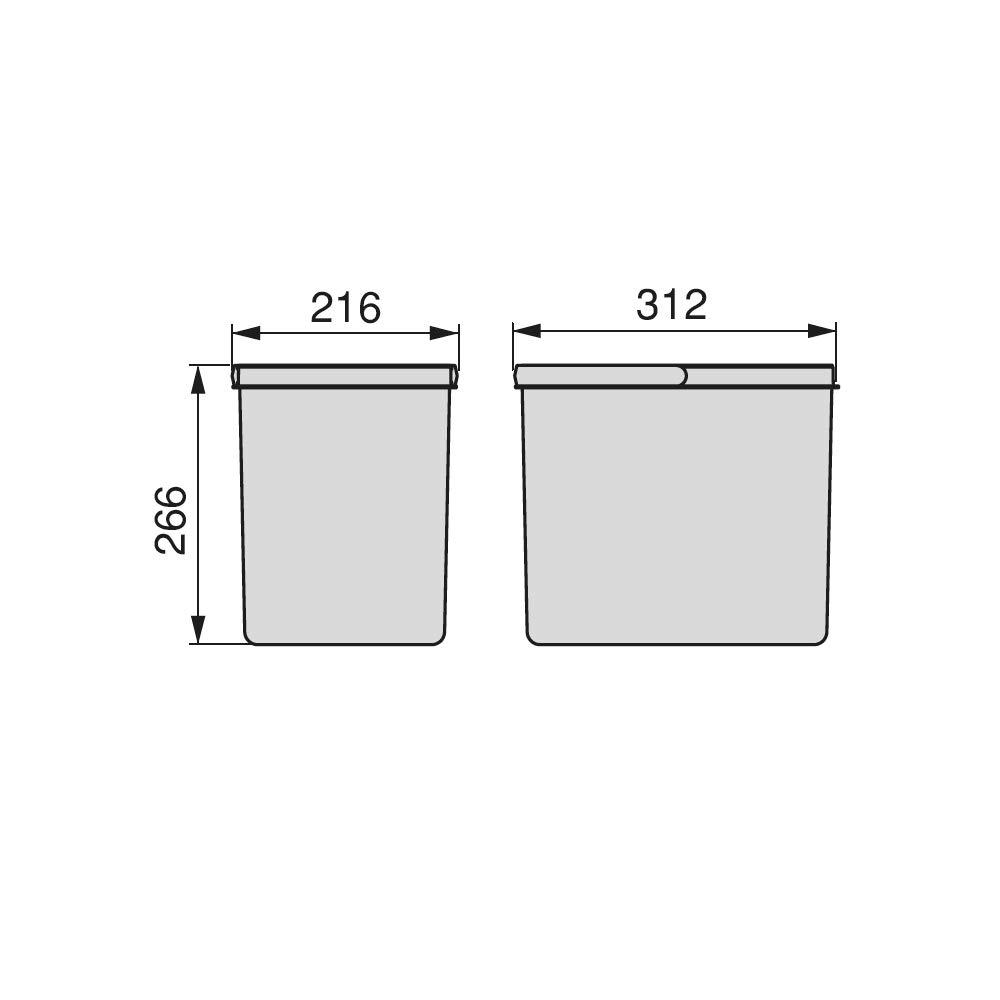 Gris 1x15L Cubos de Reciclaje para Base Recortable contenedor de Alto 266mm y Capacidad 15 litros EMUCA Basura H 266 mm