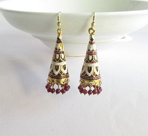 (Black beads bell Jaipur jhumka ,indian jhumka,victorian jhumka earrings, statement drop jhumkas,jaipur Bell jhumkas/White Jhumka)