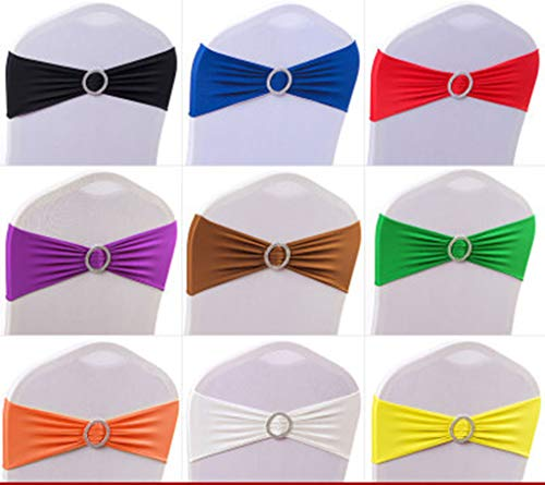Custom Chair Sashes - Parousia 50PCS Spandex Chair Sashes Bows Elastic Chair Bands with Buckle Slider Sashes Bows for Wedding Decorations (50pc, Custom Color)