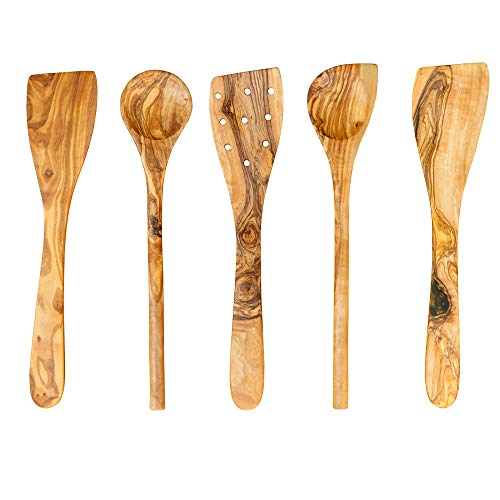 (Tramanto Olive Wood Spatulas, Turner and Spoons Cooking Utensil Set, 12 inches, Corner Spoon, Round Spoon, Curved Spatula, Flat Spatula and Slotted Spatula)