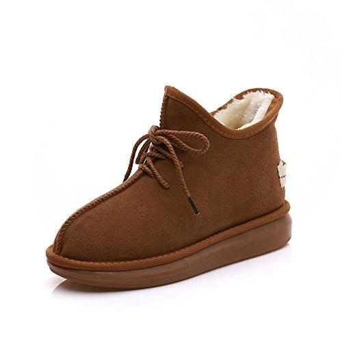 stivali in di di opaca Neve YLSZ scarpe Stivali grandi in dimensioni maroon Shoes Stivali pelle pianelle cashmere tubo plus cotone wqZnvUOZ
