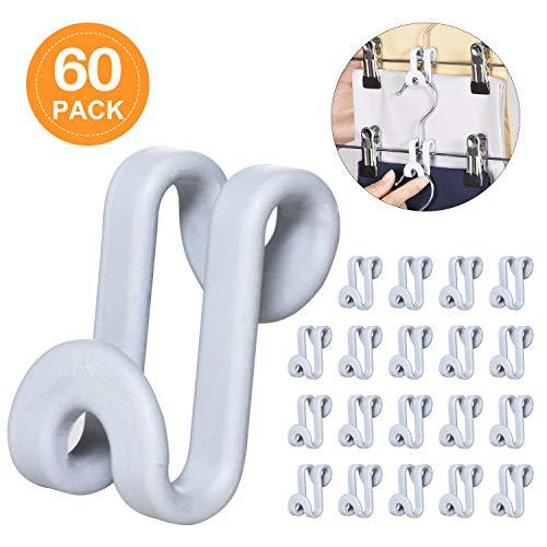 (Frezon Clothes Hanger Connector Hooks, Mini Cascading Hanger Hooks for Velvet Huggable Hangers, Heavy Duty Space Saving for Closet Grey 60 Pcs)