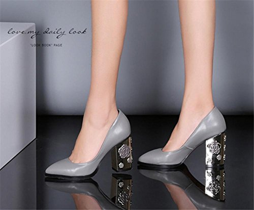 Leder Metall Spitz Single Schuhe Schwarz NVXIE Hacke Werdegang Hoch Block Gericht Pumps Damen Arbeit Geschäft Grau Zehe Schlüpfen wRqxgCvYE