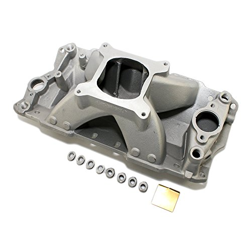 Assault Racing Products PC2031 Small Block Chevy Single Plane High Rise Satin Aluminum Intake 3000-7500+ RPM SBC Breather Hose Intake Manifold