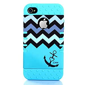 Moonmini Wave Stripes and Boat Anchor Pattern Silicone Protective Case Cover Defender for iPhone 4 4S - Sky Blue
