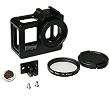 SJ5000 Aluminum Alloy Protective Case with 40.5mm UV Filter & Lens Protective Cap for SJCAM SJ5000 Series(Black)
