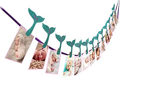 Mermaid Photo Banner, Sweet Heart First Birthday Photo Banner, Justborn To 12 Months Photo Banner, For Mermaid Party Decorations, Mermaid Party Supplies, Under The Sea,First Birthday Party Decorations]()