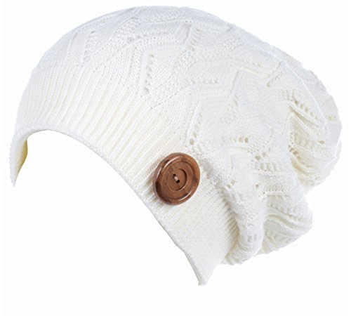 - BYOS Winter Warm Fleece Lined Knit Slouchy Beanie Hat W/ Wooden Button Accent (Off White)