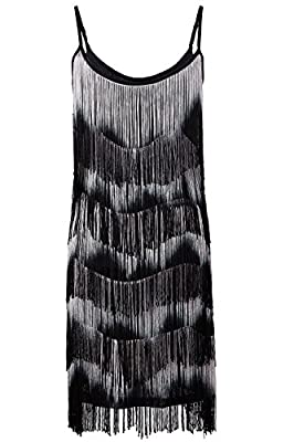 Vijiv Women's 1920s Flapper Fringe Tassel Charleston Party Cocktail Dress