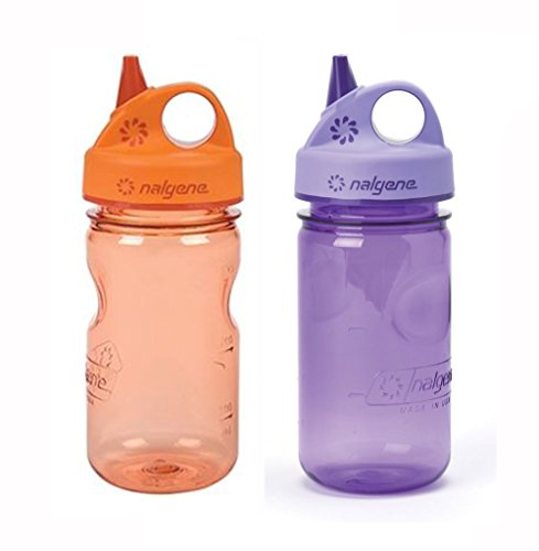 Nalgene Grip-N-Gulp Kids / Children's BPA Free Tritan 12oz Water Bottles - Orange and Purple Bundle Pack of Two Bottles. Each bottle is 7.5 Inches Tall by 3 Inches in Diameter (Orange and Purple) Bottle Bundle