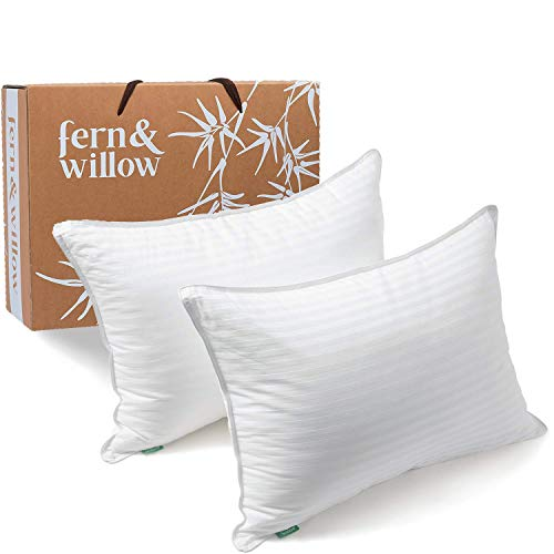 Fern And Willow Pillows for Sleeping – Queen Size, Set of 2 – Premium Down Alternative, Hotel Bed Pillow Set – Luxury…