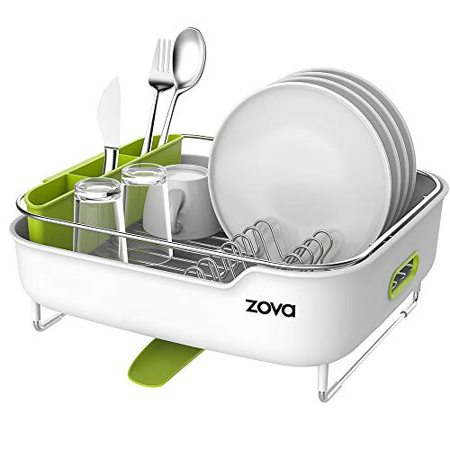 zova Premium Stainless Steel Dish Drying Rack with Swivel Spout, Dish Drainer Utensil Organizer for Kitchen- Medium, White &Green