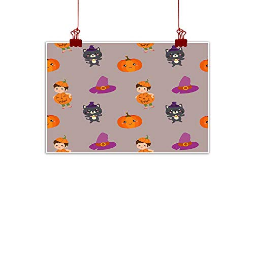 Mannwarehouse Modern Frameless Painting Halloween Pattern with Pumpkin Kids and cat Bedroom Bedside Painting 24