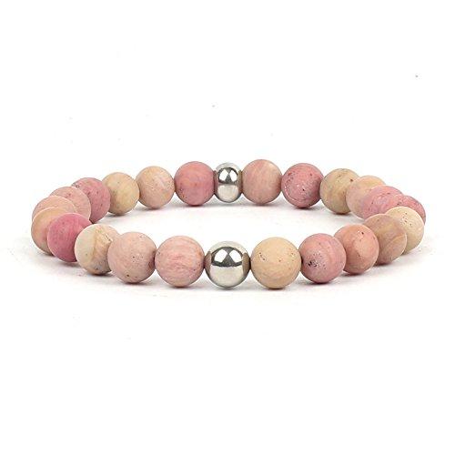 VEINTI+1 8mm Natural Semi-precious Stone Beaded Bracelet Adjustable Hand Chain for Unisex (Mahogany Stone(Silver)) - Mahogany Semi