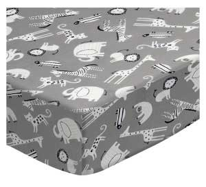 SheetWorld Fitted Playard Sheet Fits BabyBjorn Travel Crib Light 24 x 42 - Modern Safari Animals Gray - Made in USA by SHEETWORLD.COM
