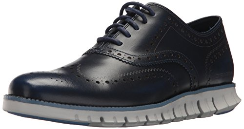 Cole Haan Men's Zerogrand Wing Ox Leather Oxford, Marine Blue Leather/Vapor Grey, 10.5 Medium US