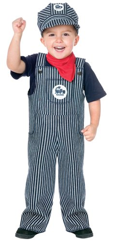 [Fun World Costumes Baby's Train Engineer Toddler Costume, Blue/White, X-Large(4-6)] (Toddler Conductor Outfit)