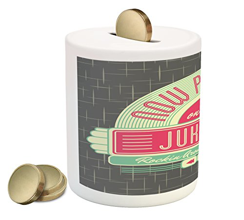Ambesonne Jukebox Piggy Bank, Charcoal Grey Backdrop with 50s Inspired Radio Music Box Image, Printed Ceramic Coin Bank Money Box for Cash Saving, Mint Green Hot Pink and White