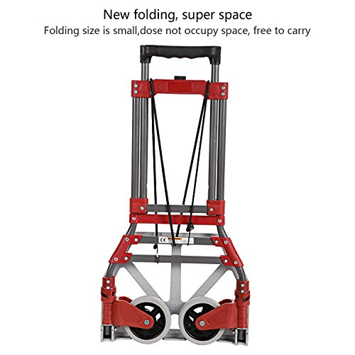 Coocheer Aluminum Folding Two-Wheel Hand Truck/Cart/Dollies Bearing 165 lbs with Rope