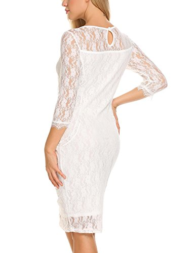 3 Elegant Party 4 Floral Lace Women's White Sleeve Dress Elegant Cocktail Zeagoo qaE7wE