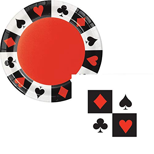 Casino Night Party Dessert Plates & Napkins Party Kit for 8 ()