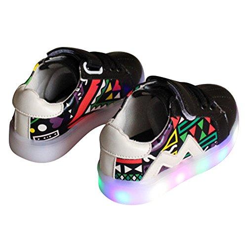 Highdas Baby Jungen Mädchen LED Schuhe erster Weg beleuchten Turnschuhe Black