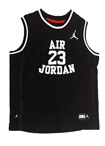 NIKE Air Jordan Little Boys' Youth Classic Mesh Jersey Shirt (6, Black/White) ()