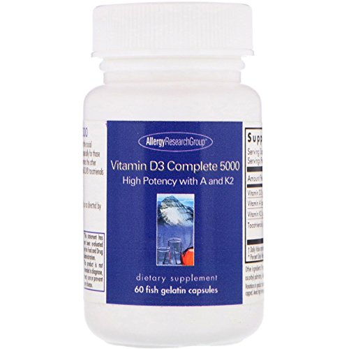 Allergy Research Group Vitamin D3 Complete 5000 60 Fish Gelatin Capsules