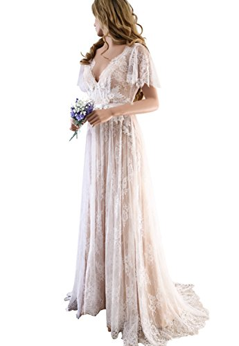 XJLY Elegant V-Neck Boho Champagne Lace Beach Wedding Dresses Country Style Bridal Gown ()