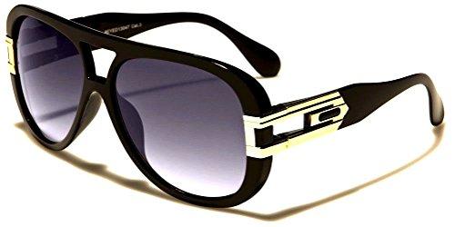 Gazelle OG Oversized Bold Aviator Sunglasses (Glossy Black & Gold Frame, Black - Dmc Glasses