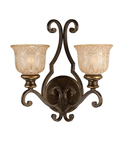 - Crystorama 7402-BU Wrought Iron Two Light Wall Sconce from Norwalk collection in Bronze/Darkfinish, 9.00 inches