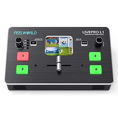 "Feelworld LIVEPRO L1 Multi-Format Video Mixer 4 x HDMI Inputs,2"" TFT Display,Live Streaming,Remote Controlling by PC/Samrt Phone(APP)"