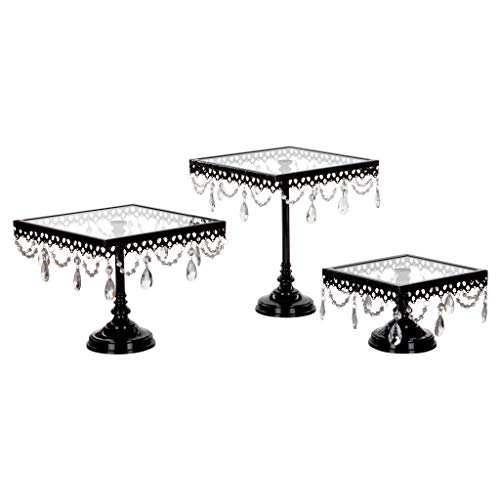 (Amalfi Decor Glass-Top Square Cake Stand Set of 3, Dessert Cupcake Wedding Event Party Birthday Metal Display Pedestal (Black))