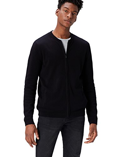 find. Men's Cotton Cardigan Sweater in Bomber Jacket Style, Black, Medium