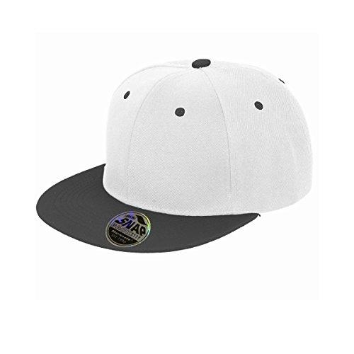 Result Unisex Core Bronx Original Flat Peak Snapback Dual Color Cap (One Size) (White/Black)