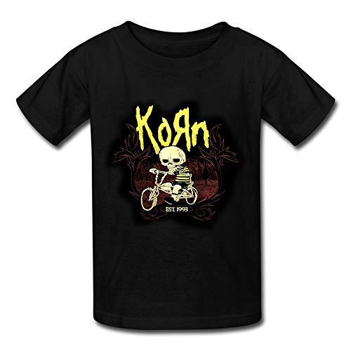 LiuJingYi Kazza Kid's Korn and Skull by Bike Round Collar T Shirt Black