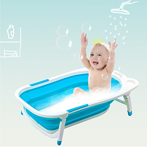 Costzon Baby Folding Bathtub, Infant Collapsible Portable Shower Basin with Non Slip Mat(Blue) ()