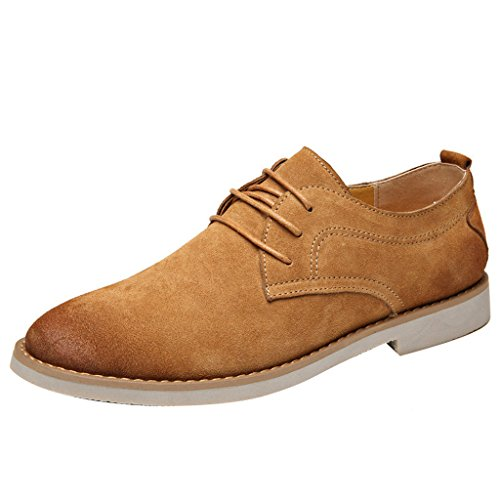 Dear Time Men Lace Up Faux Suede Oxford Shoes Yellow C5POvHJW