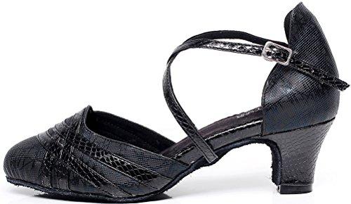 CFP Womens Latin Salsa Tango Cha-Cha Party Custom Heel Round Heel Satin Professional Dance-shoes Black 7cdk4u
