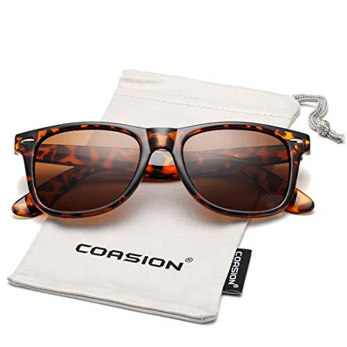 (COASION Classic Polarized Sunglasses for Men Women Retro UV400 Brand Designer Sun Glasses (Tortoise Frame/Brown Lens))