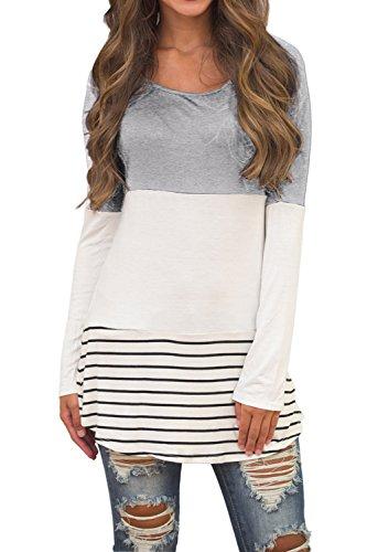 Sherosa Womens Scoop Neck Color Block Long Shirts For Leggings(Gray,M)