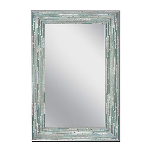 Head West Reeded Sea Glass Wall, 23.5 inches x 35.5 inches Mirror, - Mirrors Inch Seaglass Bathroom 24