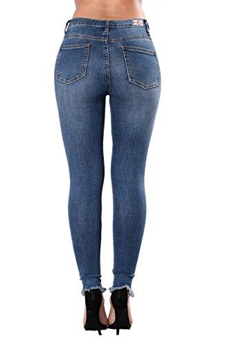 lastique en pantalon Jean Dunland Casual maigre dtruit jean femme dtresse brod femme en Jeans dchir 6qt6BEwx