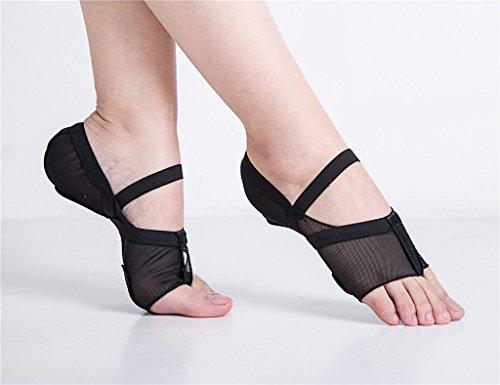 Womens Full Body Mesh Stretch Lyrical Shoes Ballroom Jazz Pratice Dance Pads Black QUf3cJOE