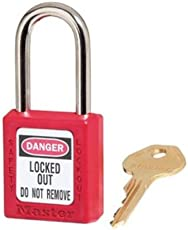 "Master Lock 410 Xenoy Safety Padlock with Short Body, 1/4"" x 1-1/2"" Shackle (Pack of 6), Rojo"